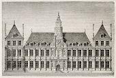 Reims Rathaus alten Vorderansicht. erstellt von Best, veröffentlicht Leloir, Hutolin und Regnier, am Magasin p