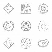 Slice Product Icon Set. Outline Set Of 9 Slice Product Icons For Web Isolated On White Background poster