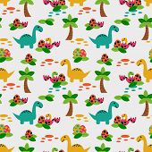Cute Dinosaur Seamless Pattern. Colorful Dinosaurs Background. Backdrop For Textile, Fabric And Pape poster