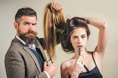 Beauty Girl With Healthy Hair. Long Hair. Fashion Haircut. Hairdresser, Beauty Salon. Styling Cut Fo poster