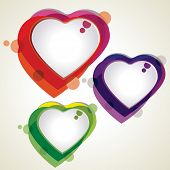 Vector illustration of colorful heart shapes in red, blue and green colors on white background for Valentines Day and other occasions.