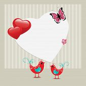Vector illustration of a greeting card with decorative love birds and copy space in heart shape with butterfly for Valentines Day and other occasions.