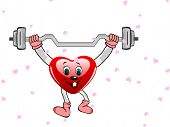 Heart in the form of funny character with the dumbbells on white background for Valentine Day and ot