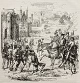 Maillotins revolt old illustration (Under Charles VI rule, against fiscal oppression in French Kingdom). After engraving kept in French Royal Library, published on Magasin Pittoresque, Paris, 1845