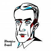 Maurice Ravel Engraved Vector Portrait With Ink Contours. French Composer, Pianist And Conductor. He poster