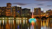 Skyline of Orlando, Florida at Lake Eola.