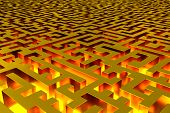 Three-dimensional Infinite Golden Labyrinth Illuminated From The Inside. Perspective View Of The Lab poster