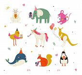 Cute Animals Wearing Party Hats With Birthday Cakes And Gift Boxes Set, Cute Cat, Elephant, Mouse, C poster