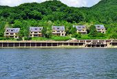 Coast of Songhua lake with new nice villas in Songhua National Park and military zone. Jilin provinc
