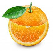 Orange fruit with orange leaf and smiling slice isolated on white background. File contains clipping poster