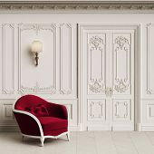 Classic Armchair  In Classic Interior With Copy Space.walls With Mouldings,ornated Cornice. Floor Pa poster