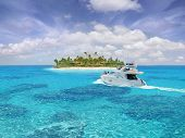stock photo of cruise ship caribbean  - Caribbean paradise with yacht  - JPG