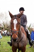 BERKSHIRE - DECEMBER 26: A rider straddles his horse at the Stanford Dingley Boxing Day Hunt on Dece