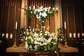 Large Vase Of Wedding Flowers In A Church