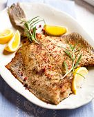 stock photo of flounder  - Flounder with lemons and rosemary - JPG