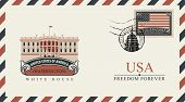 Vector Postcard Or Envelope With Famouse Washington White House And Inscriptions. Postcard With Post poster