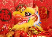 Chinese New Year Ornaments--Traditional Dancing Dragon,golden coin  and Money Red Packet,red firecra