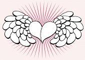 corazón con alas y radios