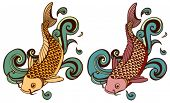 stock photo of koi tattoo  - colored koi variations - JPG