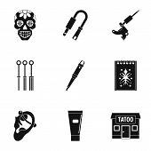 Tattoo Salon Icon Set. Simple Set Of 9 Tattoo Salon Icons For Web Isolated On White Background poster