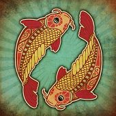 stock photo of koi tattoo  - grunge zodiac  - JPG