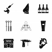 Tattoo Salon Specialist Icon Set. Simple Set Of 9 Tattoo Salon Specialist Icons For Web Isolated On  poster