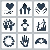 Charity And Volunteer Icon Set In Glyph Style poster