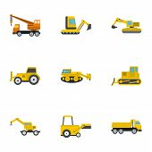 Building Heavy Vehicle Icon Set. Flat Set Of 9 Building Heavy Vehicle Icons For Web Isolated On Whit poster