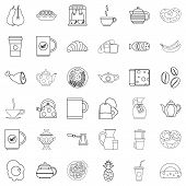 Good Morning Icons Set. Outline Style Of 36 Good Morning Icons For Web Isolated On White Background poster
