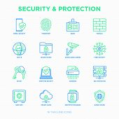 Security And Protection Thin Line Icons Set: Mobile Security, Fingerprint, Badge, Firewall, Face Id, poster