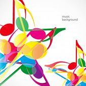 Vector music stars background. Colorfull music notes.