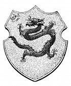 das alte Wappen von China. Stich von Alwin Zschiesche veröffentlicht am