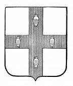 das alte Wappen der britischen West Indien. Stich von Alwin Zschiesche veröffentlicht am