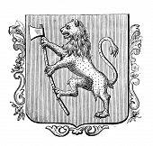 das alte Wappen von Norwegen. Stich von Alwin Zschiesche veröffentlicht am
