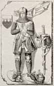 Knight Berthold de Waldner tombstone old illustration. After 14th century sculpture, published on Ma