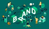 Green Brand Banner. Isometric Illustration Of Green Brand Banner For Web Design poster