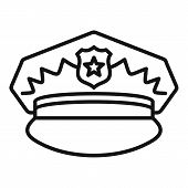 Police Cap Icon. Outline Police Cap Icon For Web Design Isolated On White Background poster