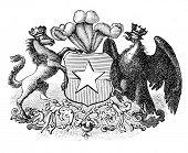 das alte Wappen der Republik Chile. Stich von Alwin Zschiesche veröffentlicht am