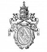 Das alte Wappen von Kirchen (Deutschland). Stich von Alwin Zschiesche veröffentlicht am