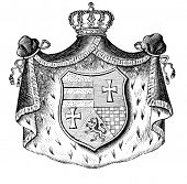 Das alte Wappen von Oldenburg (Deutschland). Stich von Alwin Zschiesche veröffentlicht am