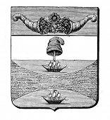 das alte Wappen der Vereinigten Staaten von Kolumbien. Stich von Alwin Zschiesche veröffentlicht am