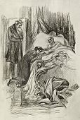 Daughter at bed of its dying father. Illustration by artist A.P. Apsit from book
