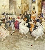 Dancing children. Illustration by artist A.Apnist from book