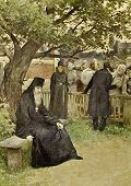The priest sitting on a bench. Illustration by artist Lebedev from book