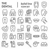 Dental Line Icon Set, Dentistry Equipment Symbols Collection, Vector Sketches, Logo Illustrations, O poster