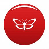 Nice Butterfly Icon. Simple Illustration Of Nice Butterfly Icon For Any Design Red poster