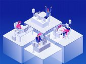 Video Games. People Gaming Online On Computers. Cyber Sport. Vector 3d Isometric Illustration. poster