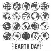 Globe Icons Set. World Earth Day Card With Globe Map Internet Global Commerce Tourism Gray Vector Sy poster