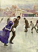 Ice-skating. Father sitting at the bedside of his daughter. Illustration by artist Korin from book