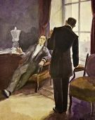 Two gentlemen talk. Illustration by artist Zahar Pichugin from book